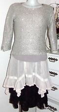 Ester Elenora Pailletten Pullover Selina grey creme sweater with sequins S M L
