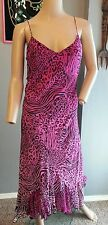 Vtg 90's Betsey Johnson NY Silk Pink Black Zebra Animal Print Grunge Slip Dress