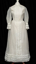 Wedding Dress Vintage 1960s Mod Dolly Lace Boho Gothic LARP 8 10 R354