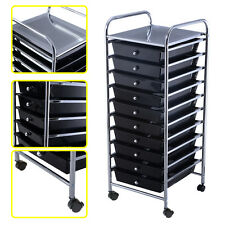 10 Drawer Rolling Storage Cart Scrapbook Paper Office School Organizer Blac