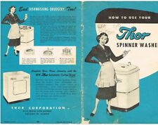 1951 Vintage Thor Spinning Washer Washing Machine Owners Manual Booklet Receipt