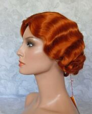 HIVISION Short Finger Wave Copper Full Synthetic Wig - #75