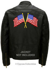 CROSSED AMERICAN FLAG embroidered BIKER PATCH - LARGE BACK-SIZED US USA IRON-ON