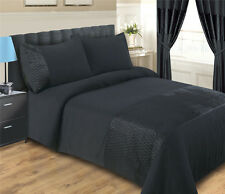 BLACK DUVET COVER SET INCLUDING PILLOWCASES  - SIZE DOUBLE - EMERALD