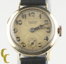 Record Geneve 14k Yellow Gold Vintage Hand-Winding Watch w/ Leather Band