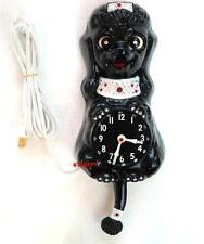 VINTAGE 60's BLACK FRENCH POODLE-KIT KAT CLOCK-CAT KLOCK-ORIGINAL-ELECTRIC-NICE