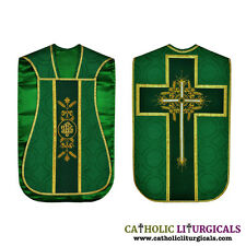 Green Fiddleback Chasuble Mass Vestment set Veil, Maniple, Stole, Burse NEW