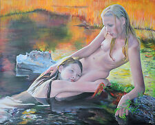"""The Naiads"" Erotic Art. Original Painting Acrylic Canvas 24x36 Stretched/Framed"