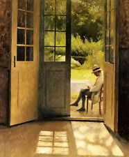 Oil painting peter vilhelm ilsted - the open door with man sitting no framed art