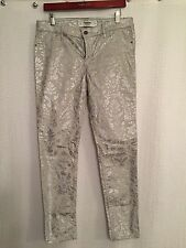 Abercrombie & Fitch A&F Silver Tapestry Lame' Super Skinny Jean Pant NWT 10