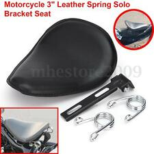 3'' Retro Leather Spring Solo Bracket Seat For Harley Chopper Bobber Motorcycle