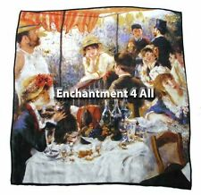 "Large 100% Pure Silk Art Scarf Wrap 35""x35"" Renoir's ""Luncheon Of Boating Party"""