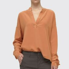 Vince NWT V-Neck Stitch Detail Silk Shirt Blouse Yam Orange S/Small $255