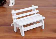Mini White Wooden Bench Chair Wedding Decor Doll Model Centrepeice Furniture