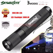 Mini 3000LM Zoomable CREE Q5 LED Flashlight 3 Mode Torch Super Bright Light Lamp