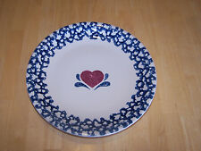 Tienshan Folk Craft Blue Sponge HEART Set of 2 Round Platters 12 in