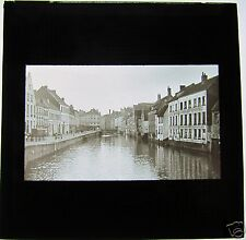 Glass Magic Lantern Slide WATERWAY AT GHENT C1910 BELGIUM
