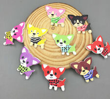 20pcs Wooden Cartoon Mixed color dog Buttons Sewing decoration scrapbooking 30mm