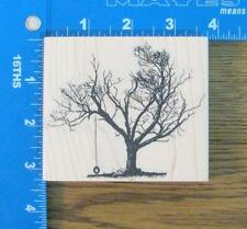 VLVS rubber stamp LG TREE with TIRE SWING SCENERY UNIQUE NEW!