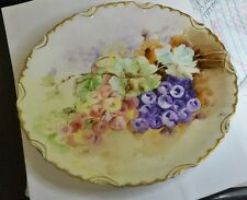 Elite L France Hand Painted Plate, Grapes, Leaves/ Gold Trim