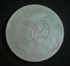 Antique Rene Lalique Frosted Round Box Trois Figurines For D'Orsay C.1912 Rare.