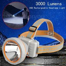NEW 3000 Lumens LED Headlamp Rechargeable Headlight Torch Flashlight+USB charger