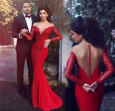 Red Mermaid Prom Dress Formal Evening Gown 2016 Long Sleeves Ball Gown