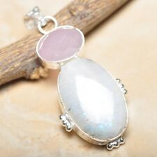 """Fire White Rainbow Moonstone Opal 925 Sterling Silver 2.25"""" Pendant #P14339"""