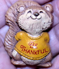 Vintage 1982 Hallmark Thanksgiving Shirt Tales Squirrel Lapel Pin - Be Thankful