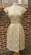 Vintage 1950's Neiman Marcus Dior Gold Brocade Dress with Rhinestone