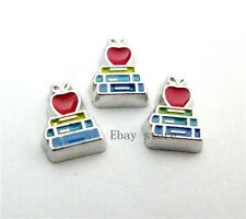 10pcs Apple book Floating Charms For Fits DIY Glass Living Memory Locket FC422