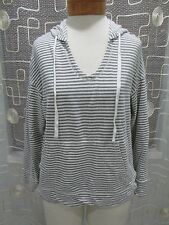 Max Studio Weekend Hooded Long Sleeve Nautical Striped Top Size M