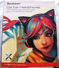 AXENT WEAR Brookstone Cat Ear Headphones Red LED with high-function Mic NEW