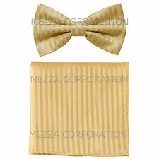 New men's pre-tied bowtie set tone on tone stripes polyester formal beige gold