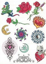 Tribal 12 different Temporary Tattoo - Large size sheet rose tribal designs