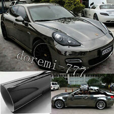 "Bid - 120"" x 30"" Black Glossy Mirror Chrome Film Vinyl For Car Wrap Sticker"