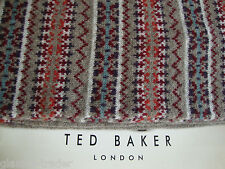 TED BAKER Men's Hallous Fair Isle Lambswool Natural Light Brown Scarf BNWT