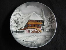 """VINTAGE CICO GERMANY 'SWISS CHALET in WINTER' 9"""" WALL PLAQUE #2558 c.1950's EX"""