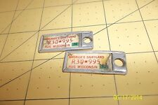 Matched 1974  Licence Plates Framed Key Chain Tags - DAV - WI-Dairyland