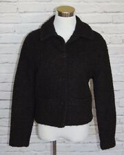 Eileen Fisher Black Boucle Wool Cropped Cardigan Jacket Women's Small Collar #36