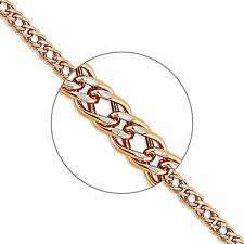 585 Russian Rose 14k Gold Diamond cut Rombo Chain Necklace 60cm Gift Boxed
