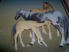 NEW IN OPENED BOX- UNIQUE - PAPER SCULPTURE PICTURE - HORSES - 3D ?- SHADOW BOX?