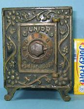 """AUTHENTIC OLD CAST IRON TOY JUNIOR SAFE DEPOSIT * M #898 * 4 1/2"""" HI * BK85"""
