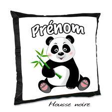 Coussin noir PANDA V1 avec le prénom de votre choix