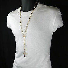 Men's Hip Hop 5mm GOLD Beads Round Guadalupe Rosary & Jesus Cross Necklace G.P.