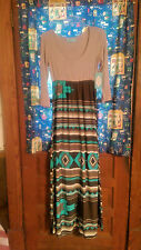 NWT - Filly Flair Maxi Dress - Turquoise Brown Tan Native American Indian Print