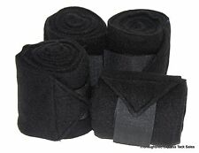 D.A. Brand Set of 4 Black 8' Soft Fleece Polo Leg Wraps Horse Tack Equine