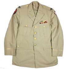 US ARMY COLONEL COL KHAKI TAN DRESS JACKET - ETO ADSEC 4TH ARMY RIBBONS