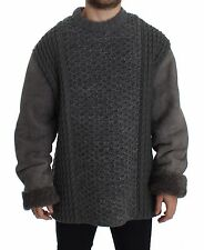 NWT $3000 DOLCE & GABBANA Gray Knitted Leather Lambskin Runway Sweater IT48 / M