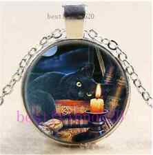 Wicca Black Cat And Book Cabochon Tibet Silver Chain Pendant Necklace